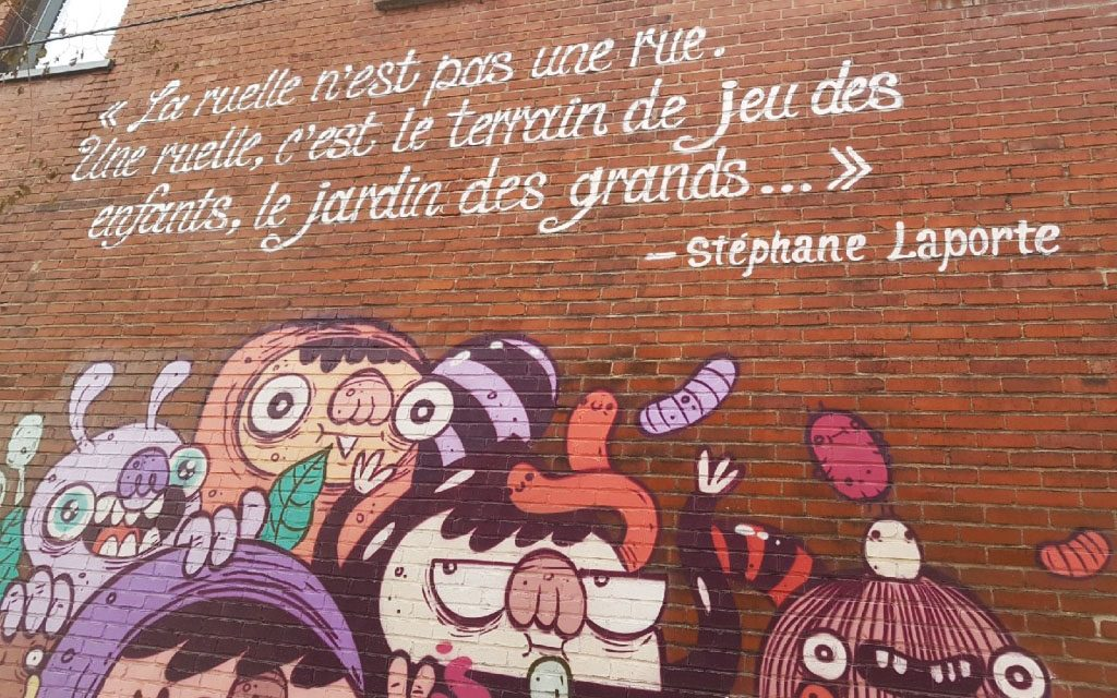 Photo de la murale dans la ruelle verte Girard!